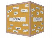 Migraine 3D Cube Corkboard Word Concept