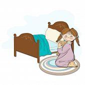 Little Girl Is Preparing For Sleep
