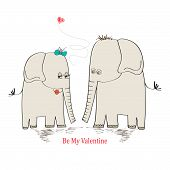 stock photo of enamored  - Two enamored elephants greeting card of Valentine - JPG