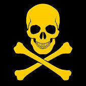 stock photo of skull cross bones  - Yellow skull and cross - JPG