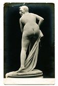 MOSCOW, RUSSIA - CIRCA 1900s: An antique photo shows an  ancient statue of a naked woman