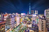 Tokyo, Japan cityscape aerial cityscape over Sumida and Taito Wards.