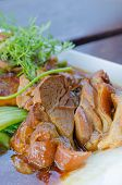 picture of pork belly  - close up braised pork belly chinese style cuisine - JPG