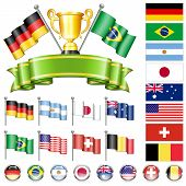 stock photo of flags world  - Soccer World Championship 2014 Collect with Flags Gold Cup Ribbon and Flags isolated vector - JPG