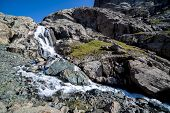 stock photo of shan  - Majestic waterfall going from Alakol lake - JPG