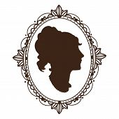 Vignette frame with woman profile.