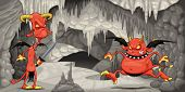 Inside the cavern with funny devils. Cartoon and vector illustration.