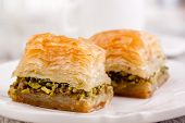 pic of baklava  - baklava turkish dessert on a white background - JPG
