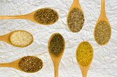 image of fenugreek  - Set of spices on white leaf - JPG