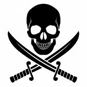 stock photo of crossed swords  - Black skull with crossed sabers - JPG