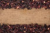 Dried Hibiscus Flowers Petals Lies On Sackcloth