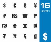 Vector black currency symbols set
