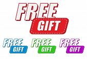 pic of free-trade  - free gift four colors labels flat design business present concept - JPG