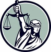 Lady Blindfolded Holding Scales Justice Front Retro