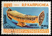 CAMBODIA - CIRCA 1984: A stamp printed in Cambodia (Kampuchea) shows a Musical Instruments with the