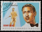 CUBA - CIRCA 1999: A stamp printed in cuba dedicated to famous Cuban musicians, shows Benny More, ci