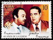 CUBA - CIRCA 2004: A stamp printed in Cuba shows singers Cascarita and Julio Cuevar,  circa 2004