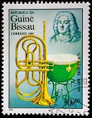 GUINEA CIRCA 1985: A stamp printed by Guinea, shows musician and composer George Frideric Handel, ci
