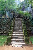 old stairs in Sigiriya castle, Sri Lanka
