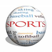 picture of great horse  - Sports 3D sphere Word Cloud Concept with great terms such as football baseball basketball and more - JPG