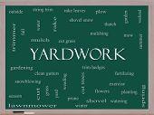 Yardwork Word Cloud Concept On A Blackboard poster