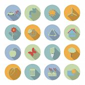 Ecology vector flat icons set
