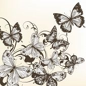 Beautiful Vector Background With Monochromic  Butterflies