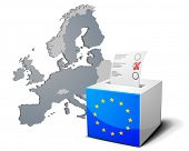 detailed illustration of a ballot box with european flag in front of the European Map, members of th