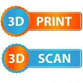 3d print and scan icons