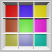 Square Colorful Product Display Show Rack