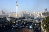 KIEV, UKRAINE - February 21, 2014: Ukrainian revolution, Euromaidan. Manifestation after an attack b