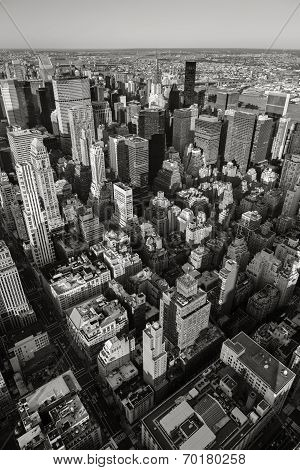 Black white aerial view of nyc vertical new york poster