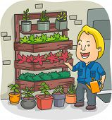 Illustration of a Man Tending to His Vertical Garden