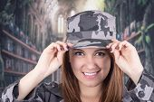 Pretty confident proud girl in military uniform