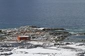 Abandoned Antarctic Station On One Of The Islands Near The Antarctic Peninsula