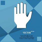 Stop. hand. Flat modern web design on a flat geometric abstract background