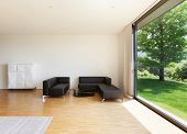 interior of a modern house, wide living room