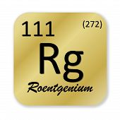 stock photo of rg  - Black roentgenium element into golden square shape isolated in white background - JPG