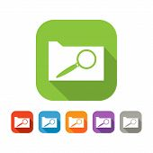Color set of flat document search icon