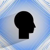 Man silhouette profile picture. Flat modern web design on a flat geometric abstract background