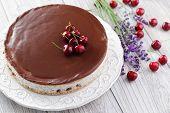homemade straciatella cheese cake with chocolate sauce - sweet food