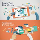 Set of flat design concepts for websites and applications development