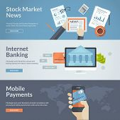 Set of flat design concepts for stock market news, internet banking and mobile payments