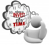 Where to Invest My Time words on a clock in a thought cloud or bubble asking for priorities in spend