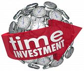 Time Investment words on a red arrow around a ball or sphere of 3d clocks illustrating importance of