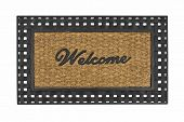 New welcome mat isolated on white.