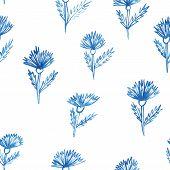 Pattern, Flowers, Aquarelle Cornflower