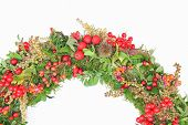 Detail Of Autumn Wreath With Berries And Seeds