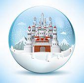 Fairytale castle in the glass sphere