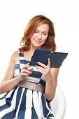business woman uses a ebook